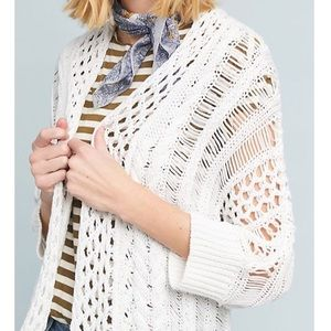 Anthropologie white knit cardigan sweater small